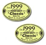 PAIR Distressed Aged Established 1999 Aged To Perfection Oval Design Vinyl Car Sticker 70x45mm Each